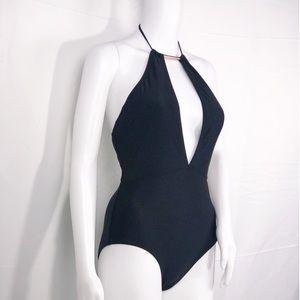 Ted Baker Black wRose Gold Bar Halter 1Pc Swimsuit